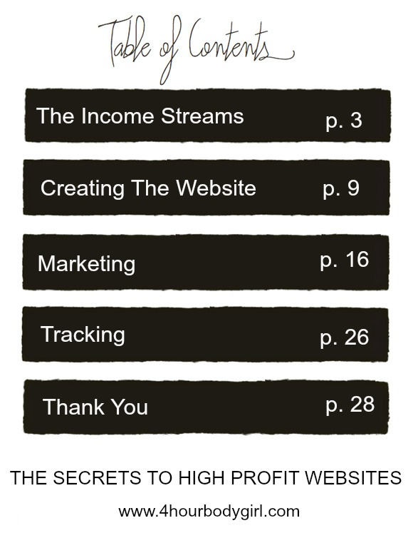 THE SECRETS TO HIGH PROFIT WEBSITES Table of Contents