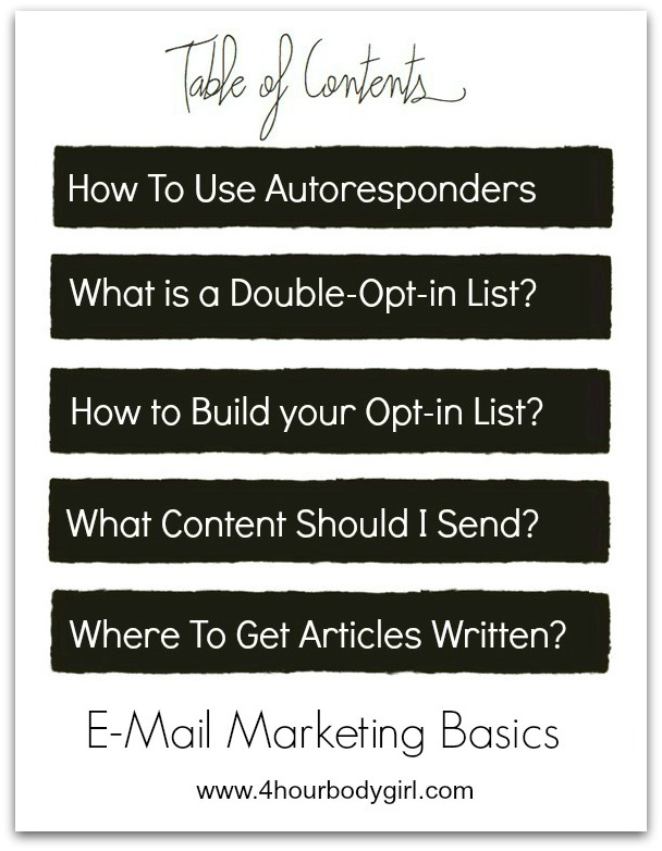 email marketing basics table of contents | www.4hourbodygirl.com